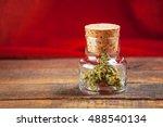 medical marijuana in glass jar... | Shutterstock . vector #488540134