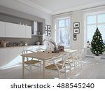 3d rendering. nordic kitchen... | Shutterstock . vector #488545240