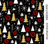 christmas seamless pattern with ... | Shutterstock .eps vector #488547490