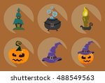 set of halloween symbols | Shutterstock .eps vector #488549563