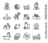 spa   beauty icons set. thin... | Shutterstock .eps vector #488550346