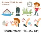 how to survive the snake. flat... | Shutterstock .eps vector #488552134
