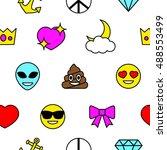 emoji seamless pattern.... | Shutterstock .eps vector #488553499