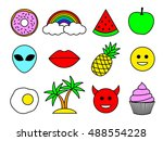 emoji design set. emoticon pins ... | Shutterstock .eps vector #488554228