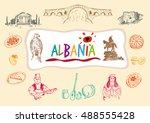 albania traditional symbols ... | Shutterstock .eps vector #488555428