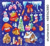 set of christmas symbols | Shutterstock .eps vector #488562880