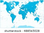blue color world map highly...   Shutterstock .eps vector #488565028