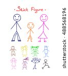 colors stick figure  on white... | Shutterstock . vector #488568196
