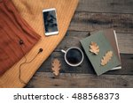 cup of tea with old book ...   Shutterstock . vector #488568373