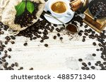 cup of hot black coffee in... | Shutterstock . vector #488571340