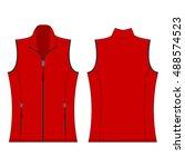 red color autumn fleece vest... | Shutterstock .eps vector #488574523