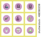 collection of icons in flat... | Shutterstock .eps vector #488580358