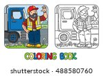coloring book of funny driver... | Shutterstock .eps vector #488580760
