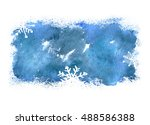 blue christmas watercolor... | Shutterstock . vector #488586388