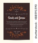 wedding floral invitation... | Shutterstock .eps vector #488591590