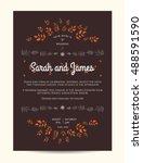 wedding floral invitation... | Shutterstock .eps vector #488591590