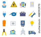 electrician icons set.... | Shutterstock .eps vector #488592970