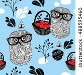 winter berries seamless... | Shutterstock .eps vector #488595460