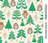 seamless pattern with animals... | Shutterstock .eps vector #488600683