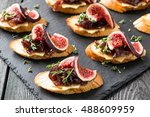 canape or crostini with toasted ... | Shutterstock . vector #488609959