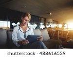 female financier is reading... | Shutterstock . vector #488616529