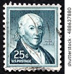 Small photo of UNITED STATES OF AMERICA - CIRCA 1958: A used postage stamp from the USA, depicting a portrait of American Revolution patriot Paul Revere, circa 1958.