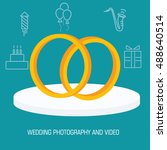 flat wedding rings shoot... | Shutterstock .eps vector #488640514