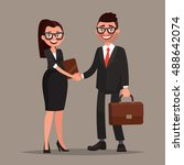 business cooperation. handshake ... | Shutterstock .eps vector #488642074