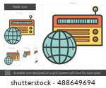 radio vector line icon isolated ... | Shutterstock .eps vector #488649694