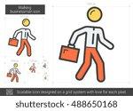 walking businessman vector line ... | Shutterstock .eps vector #488650168
