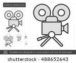 cinema camera vector line icon...   Shutterstock .eps vector #488652643