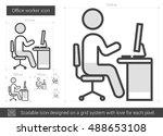 office worker vector line icon... | Shutterstock .eps vector #488653108