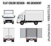 vector small truck front view... | Shutterstock .eps vector #488655136