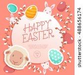happy easter elements    vector ... | Shutterstock .eps vector #488656174