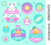 happy easter elements  badge...   Shutterstock .eps vector #488656453