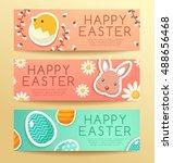 happy easter elements   banner... | Shutterstock .eps vector #488656468