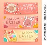 happy easter elements   banner... | Shutterstock .eps vector #488656480