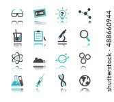 science icons with reflection...   Shutterstock .eps vector #488660944