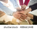 teamwork people touch hands for ... | Shutterstock . vector #488661448