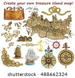 set for treasure island or... | Shutterstock . vector #488662324