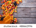 Halloween candy copy space with ...