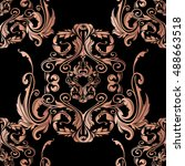 luxury black  baroque damask... | Shutterstock .eps vector #488663518
