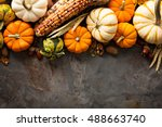 fall background copy space with ... | Shutterstock . vector #488663740