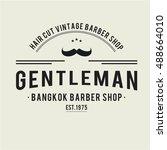 mustache vintage gentleman... | Shutterstock .eps vector #488664010