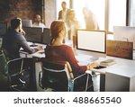 mockup copy space blank screen... | Shutterstock . vector #488665540