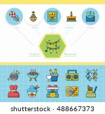 icon set party vector | Shutterstock .eps vector #488667373