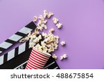popcorn and clapperboard on... | Shutterstock . vector #488675854