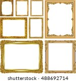 set of gold photo frames with... | Shutterstock .eps vector #488692714