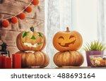 happy halloween  carving... | Shutterstock . vector #488693164