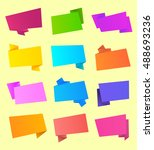 set of vector ribbon and... | Shutterstock .eps vector #488693236